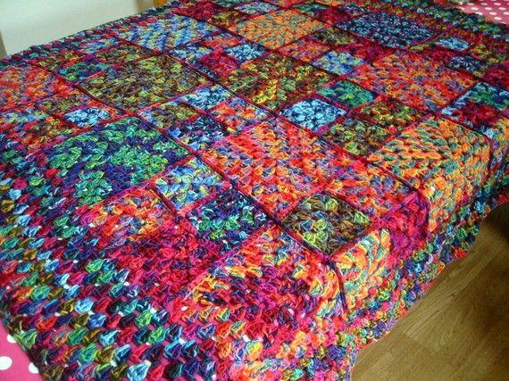 Knitting Granny Square Blanket : Heavenly mirasol crochet granny square blanket by