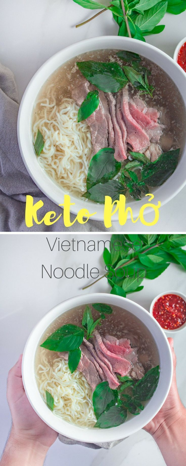 Keto Pho | Vietnamese-Style Noodle Soup | This easy keto noodle soup is made using a rich beef broth and is served with thinly sliced flank steak. | #keto #soup #easy #recipe #dinner #pho #recipesforflanksteak