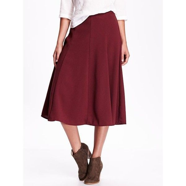 58d135064c Old Navy High Rise Fluted Midi Skirt ($33) ❤ liked on Polyvore featuring  skirts, marion berry, pleated skirt, high-waisted skirts, midi flare skirt,  ...
