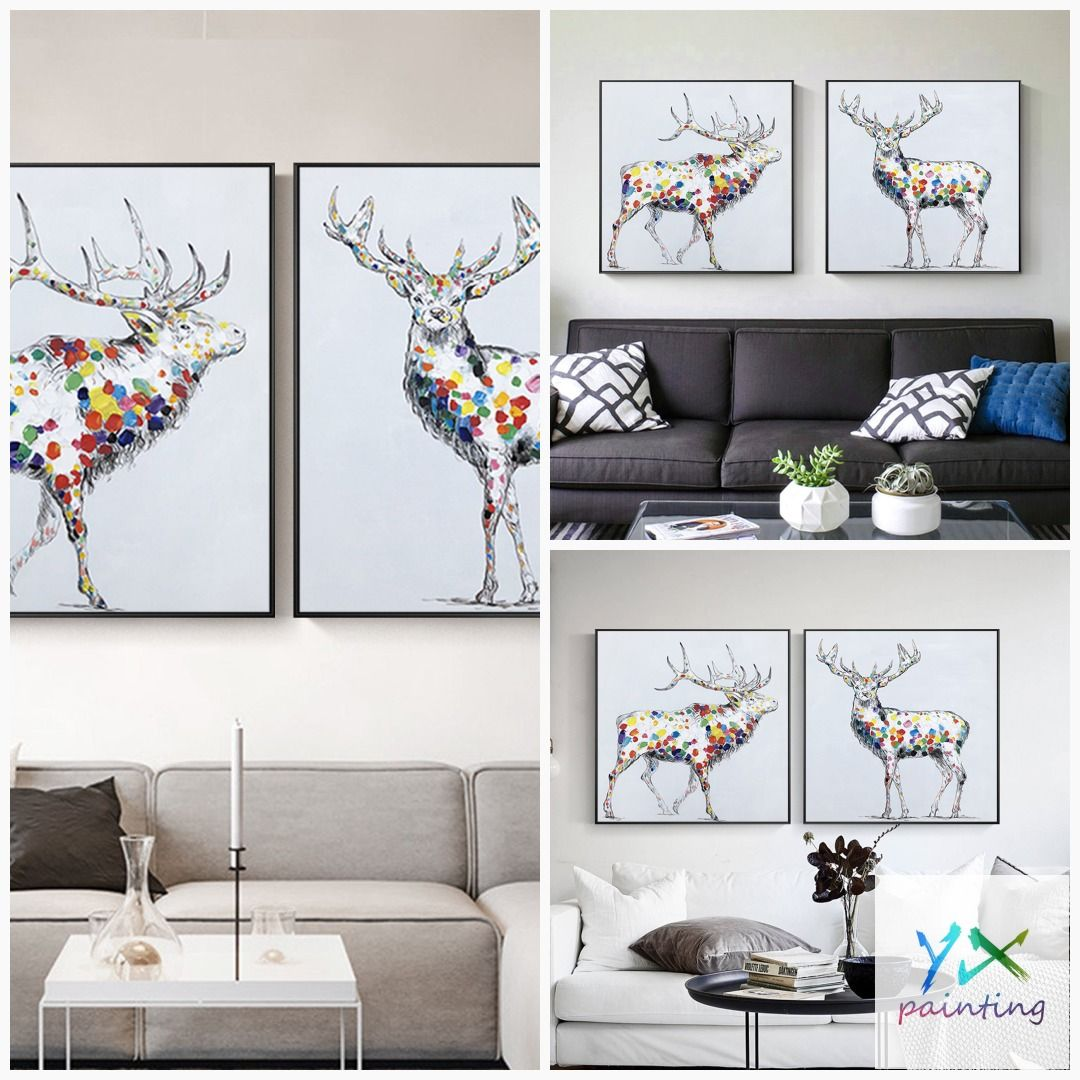 Deer Painting Set Of 2 Wall Art Framed Painting Animal Etsy Deer Painting Wall Art Pictures Framed Wall Art