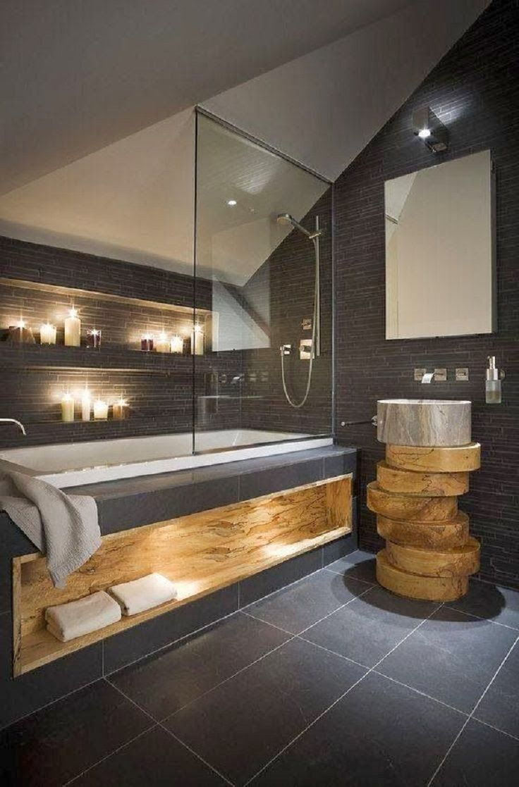 Salle de bain sobre, moderne et design avec bois massif et schiste ...