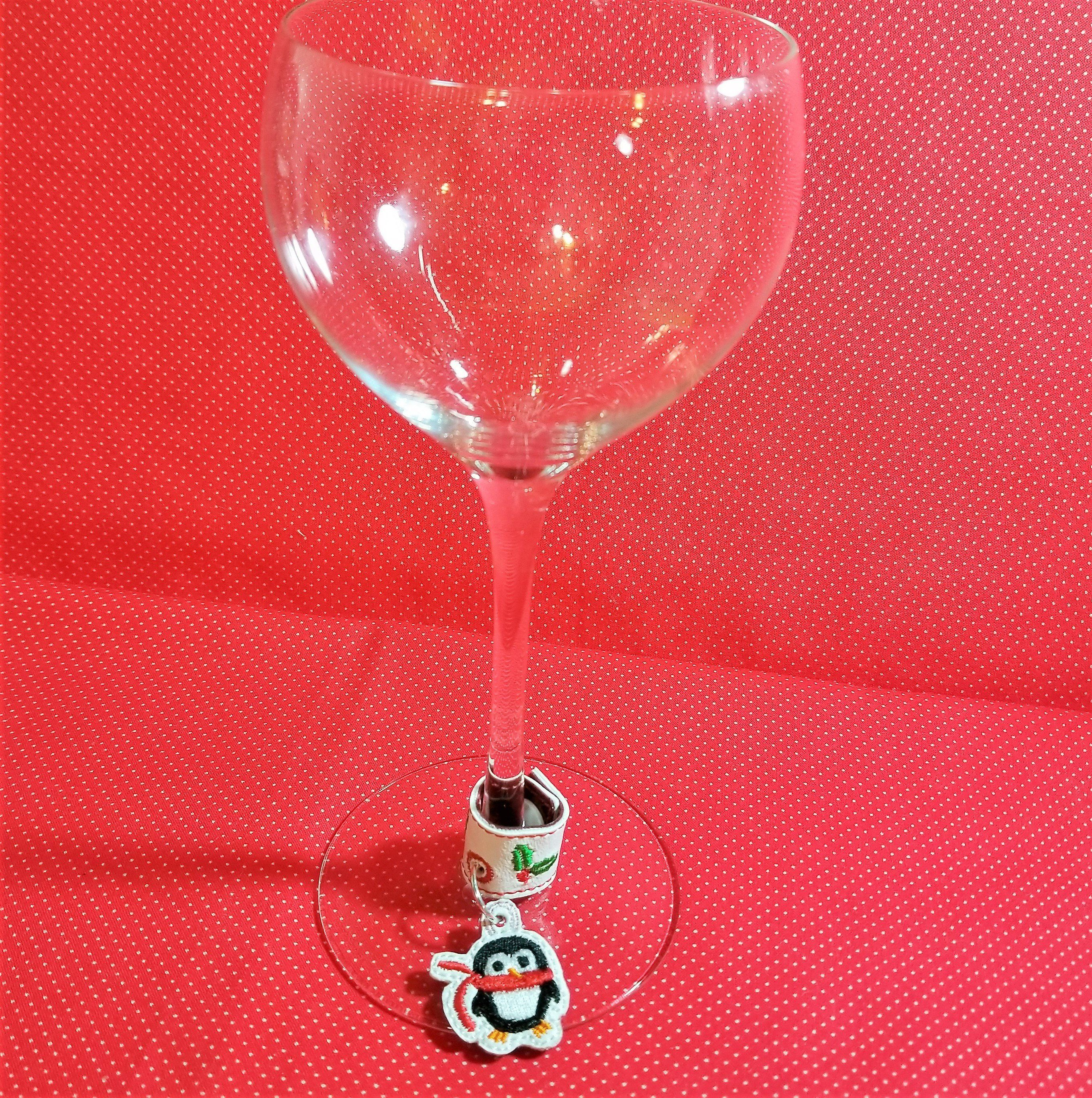 Penguin Charm Embroidery Design Ith Design For Bag Tags Etsy Wine Glass Charms Embroidery Designs Ith Designs