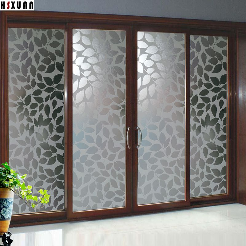 Decorative Paste Window Films Sunscreen 91x100cm Leaf Decal Waterproof Self Adhesive Glue Window Sti Door Glass Design Window Glass Design Frosted Glass Design