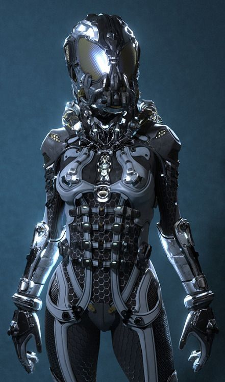 crassetination female robot cyborg spacesuit astronaut ...