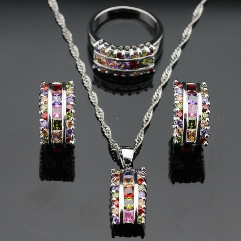 여러 가지 빛깔의 돌 실버 보석 세트 크리스마스 목걸이 펜던트 귀걸이 반지 무료 상자