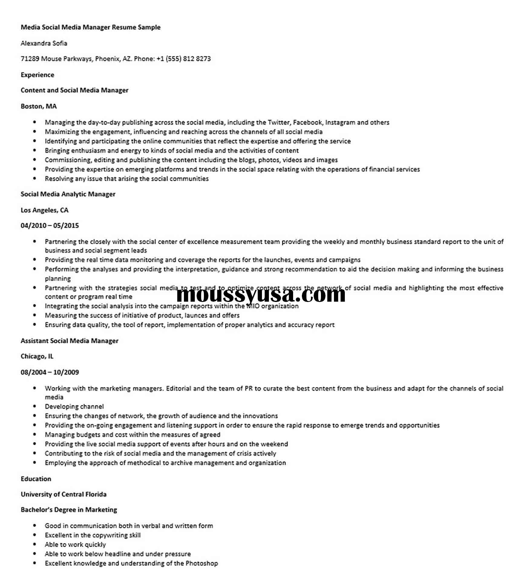 media social media manager resume sample  manager resume