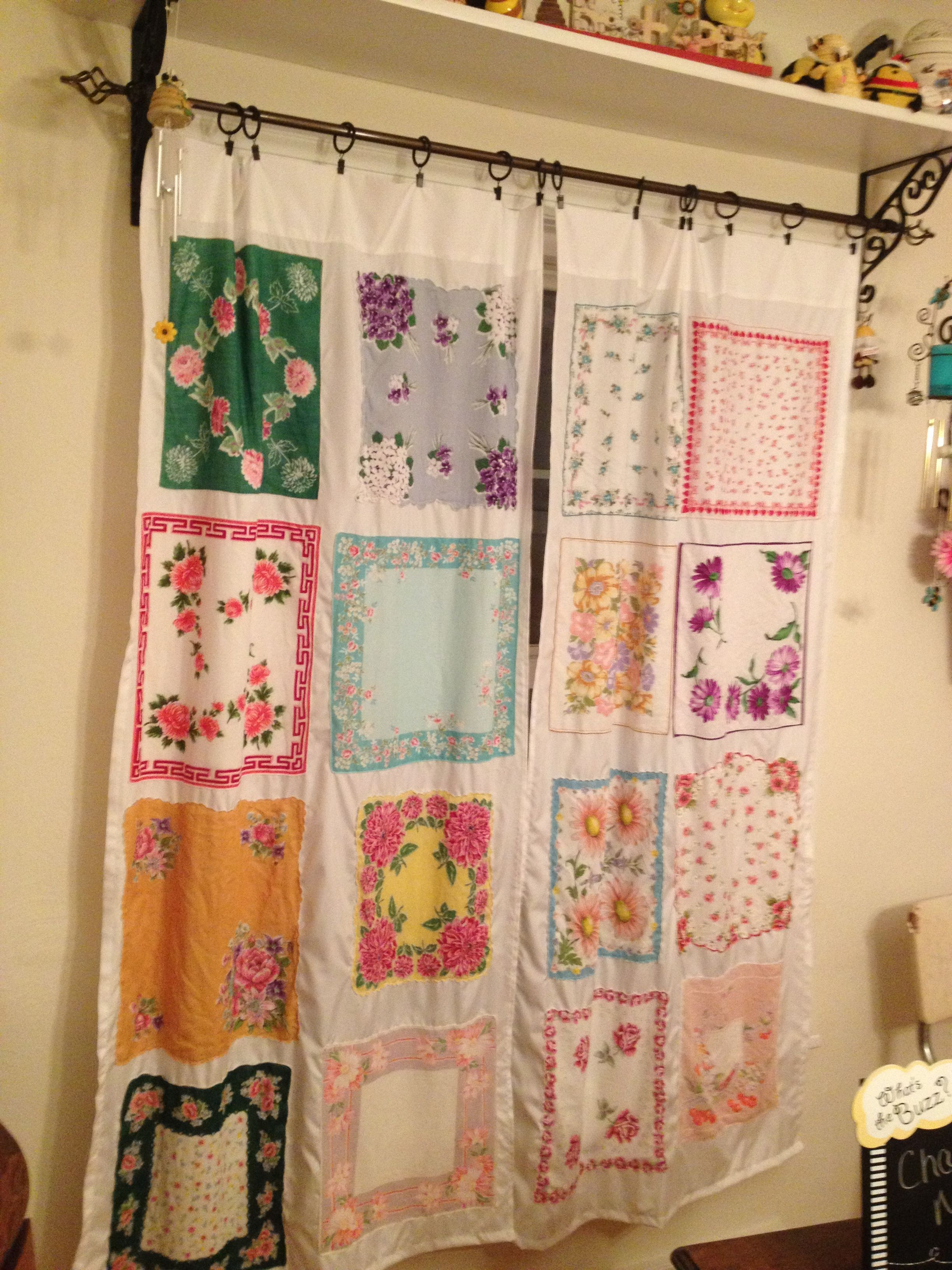 Curtains Made With Vintage Handkerchief Shabby Decor Boho