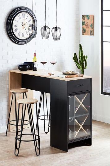 Table Bar Wine Imitation Chene Et Noir Mat Bar But En 2020 Table Bar Cuisine Meuble Bar Cuisine Bar Cuisine