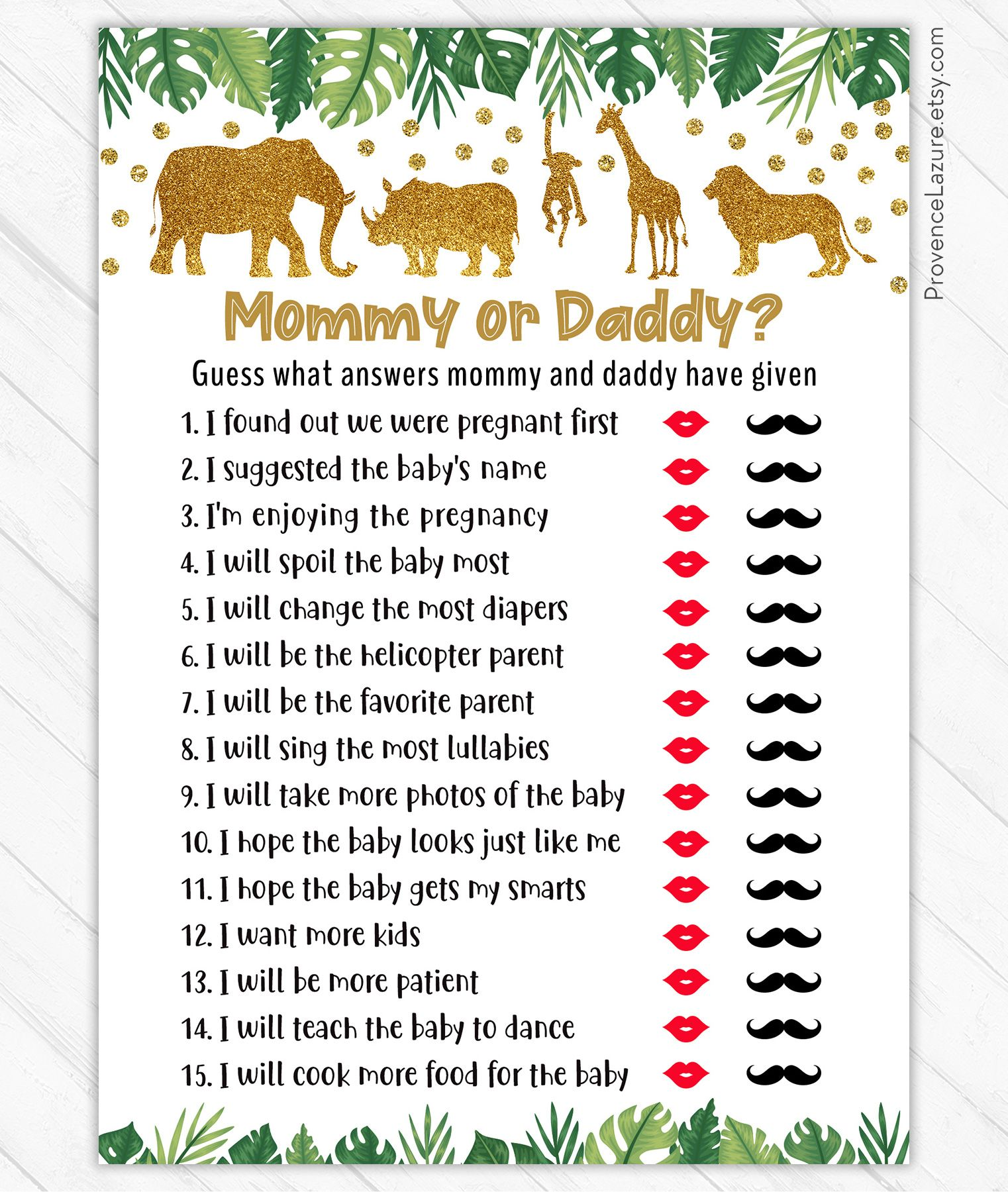 Mommy Or Daddy Game Guess Who Said It Safari Animals Baby