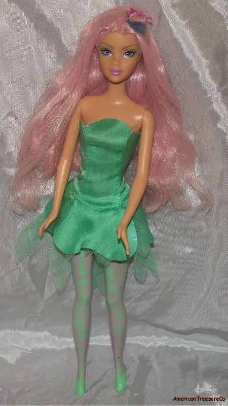 2004 Barbie Fairytopia Mint Green Dahlia Fairy Bright Pink Hair Lilac Eyes Doll   eBay