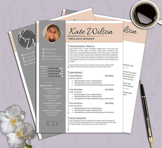 Creative 2 page Resume Template Free by thePrintableEmporium - 2 page resume