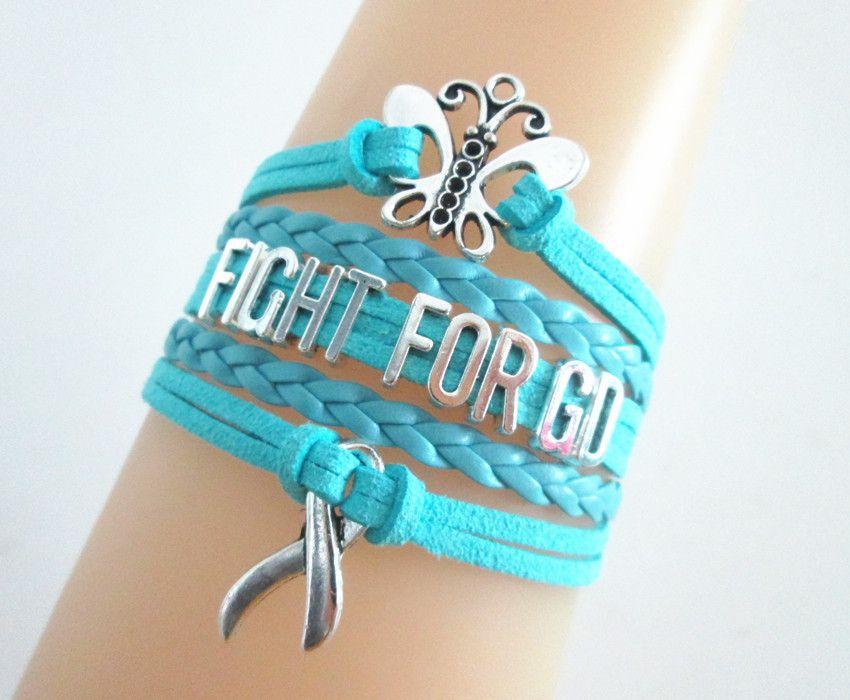 1e8350ab0 Graves Disease Butterfly/Hope/Light Blue Awareness Ribbon Charms Leather  Braided Bracelet
