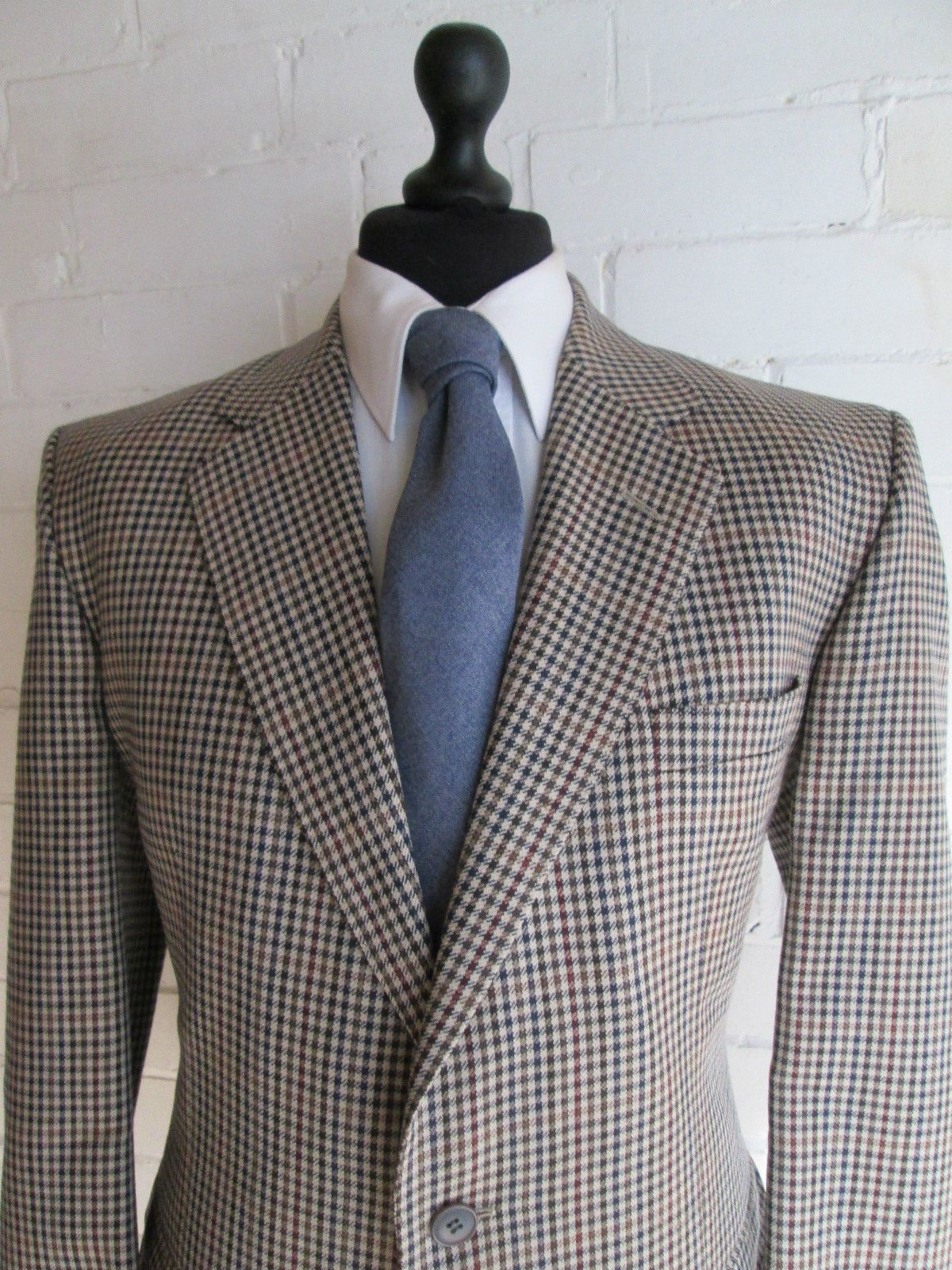Harris Tweed Lands' End Men's Sport Jacket. Size 43 Regular Pure Wool Gray Blue Olive Barleycorn Tweed Sport Coat. Gentleman Gifts for Him Uxd2p,