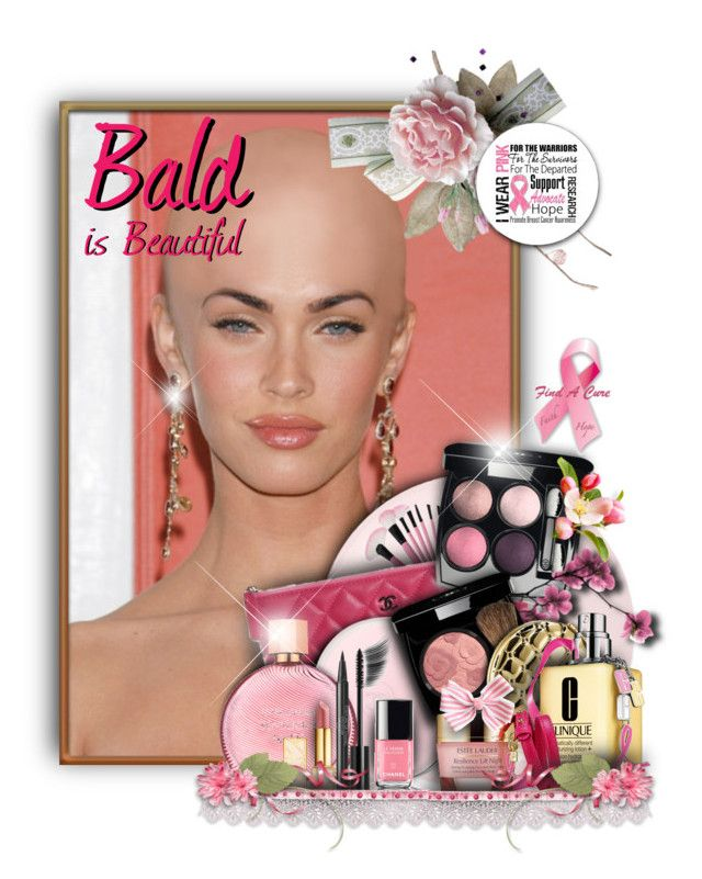 """""""Bald Is Beautiful"""" by helenehrenhofer ❤ liked on Polyvore featuring beauty, Essie, Chanel, Trilogy, Estée Lauder, Tory Burch, Clinique, Beauty, breastcancer and breastcancerawareness"""