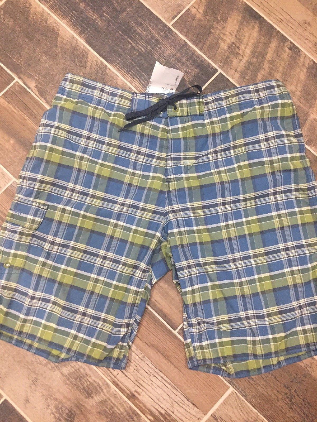 da1a741cb9 New Eddie Bauer Men's XL Cadet Green Swim Trunks Bathing Suit Board Shorts  Plaid #Bathing