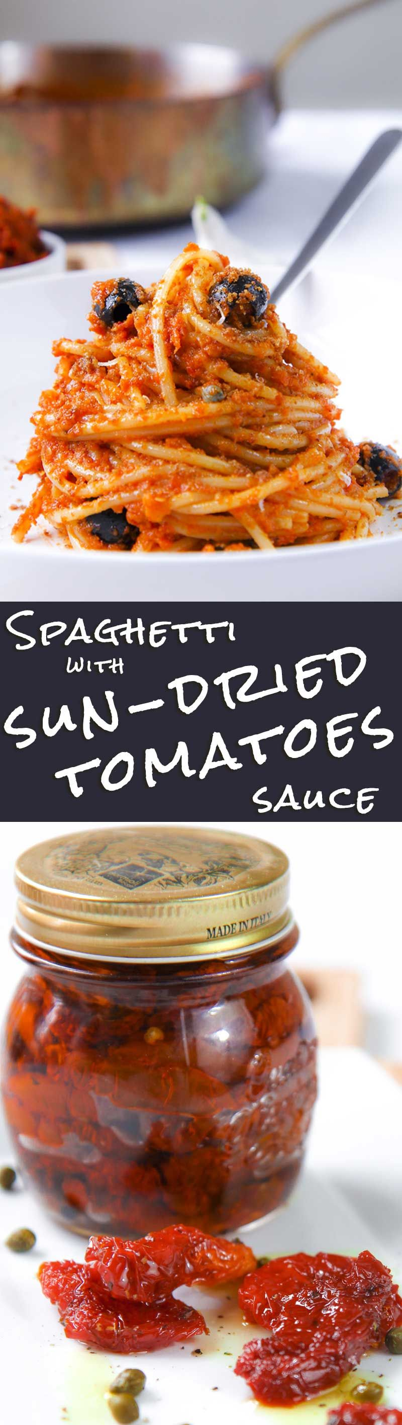 "Spaghetti with sun dried tomatoes sauce pesto - Are you looking for a ""sunny"" recipe easy to prepare in winter as well? The sun dried tomatoes sauce is perfect! This easy recipe is great with spaghetti. Crispy bread crumbs give at this dish an authentic taste of Southern-Italian tradition! - healthy pasta vegetarian dinner meal"