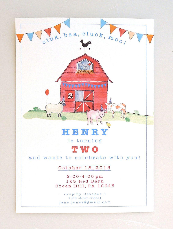 PRINTABLE barn and farm animals invite - red bar - farm party ...