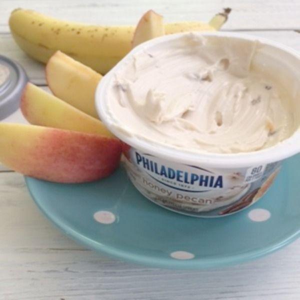 Apples Dipped In Philadelphia Honey Pecan Cream Cheese Spread Favorite Snack Right Now