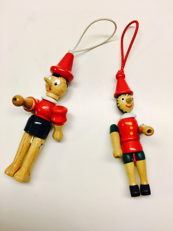 2 x Pinocchio Ornaments, Italian Wooden Christmas Holiday ...