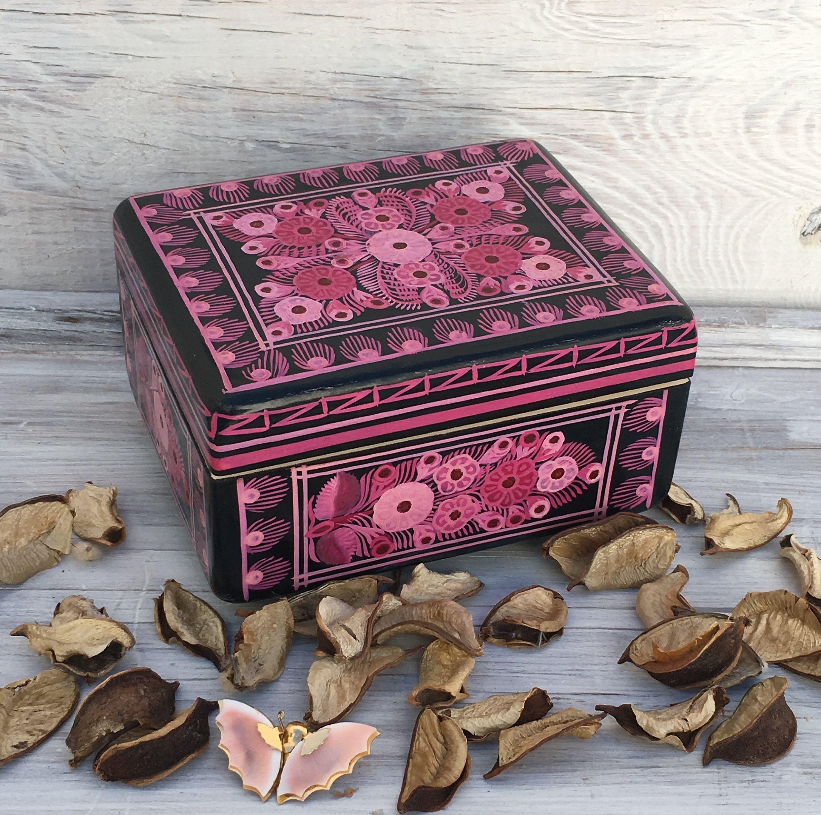 Jewelry Box Hand Painted Olinala Box Wooden Box Keepsake Box Jewellery Box Jewelry Storage Wood Box Jewelry Org Wooden Jewelry Boxes Mexican Folk Art Box Hand