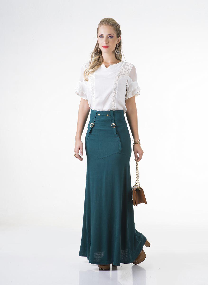 ac1a5e9cd3 Conjunto saia longa linho e blusa crepe manga 2 bordados