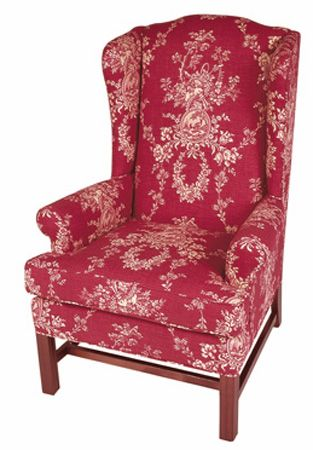 Elegant Red Toile Chair | Dunroven House Fine Upholstered Furniture