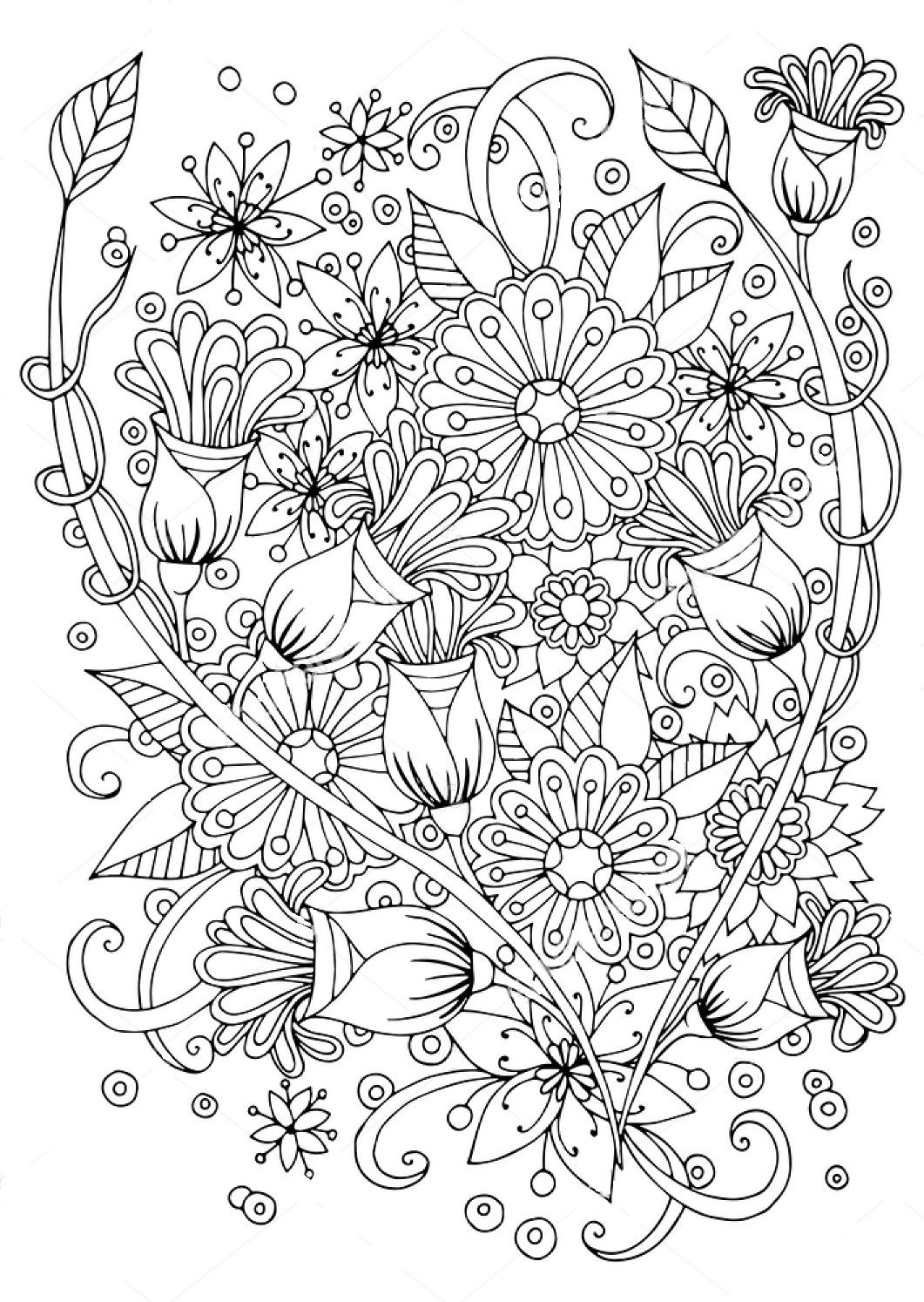 Flower Zentangle Coloring Page Coloring Book Pages Coloring Pages Coloring Books