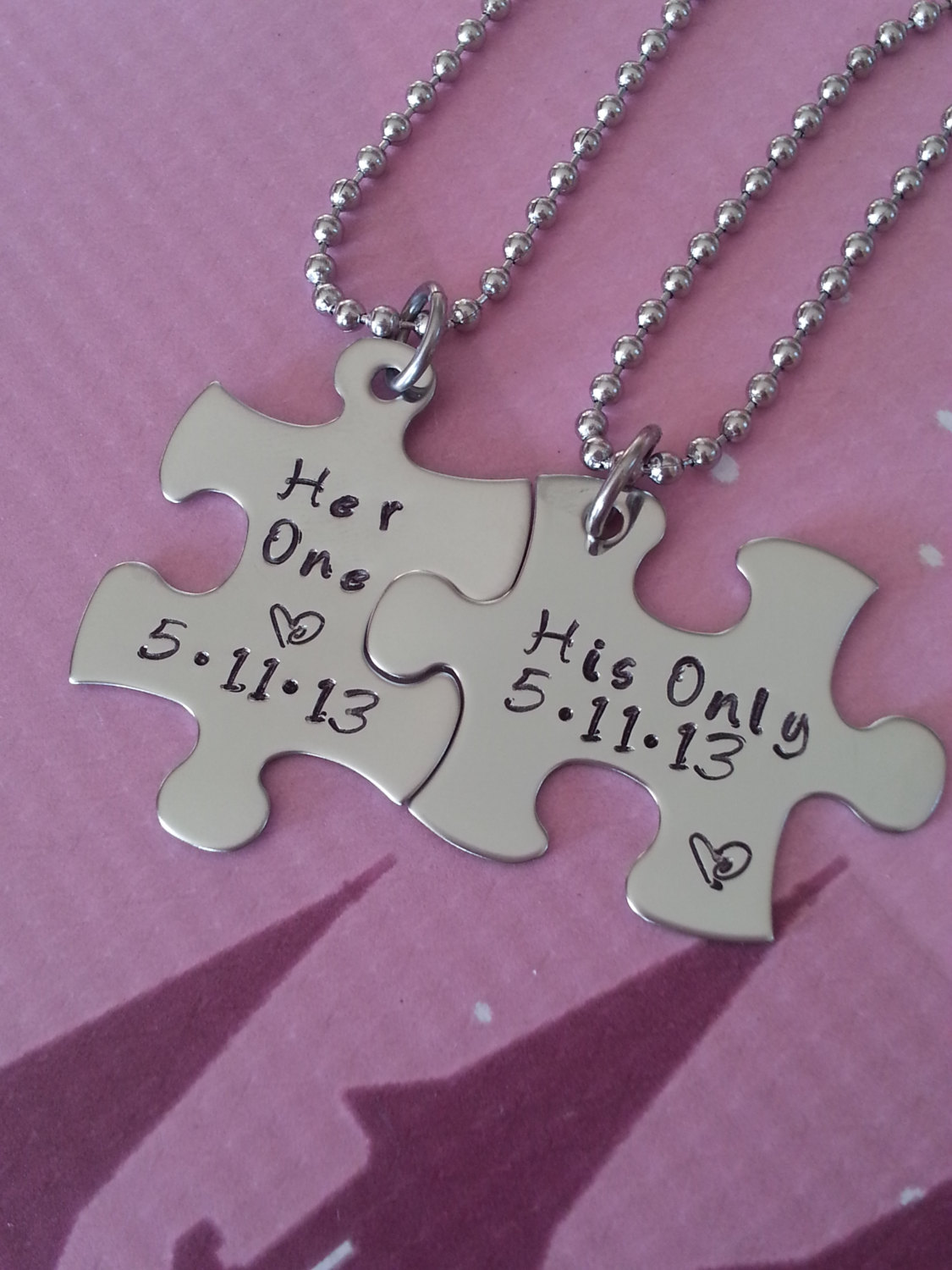 His and Her Puzzle Piece Necklace Set With Date - Couples,Wedding ...