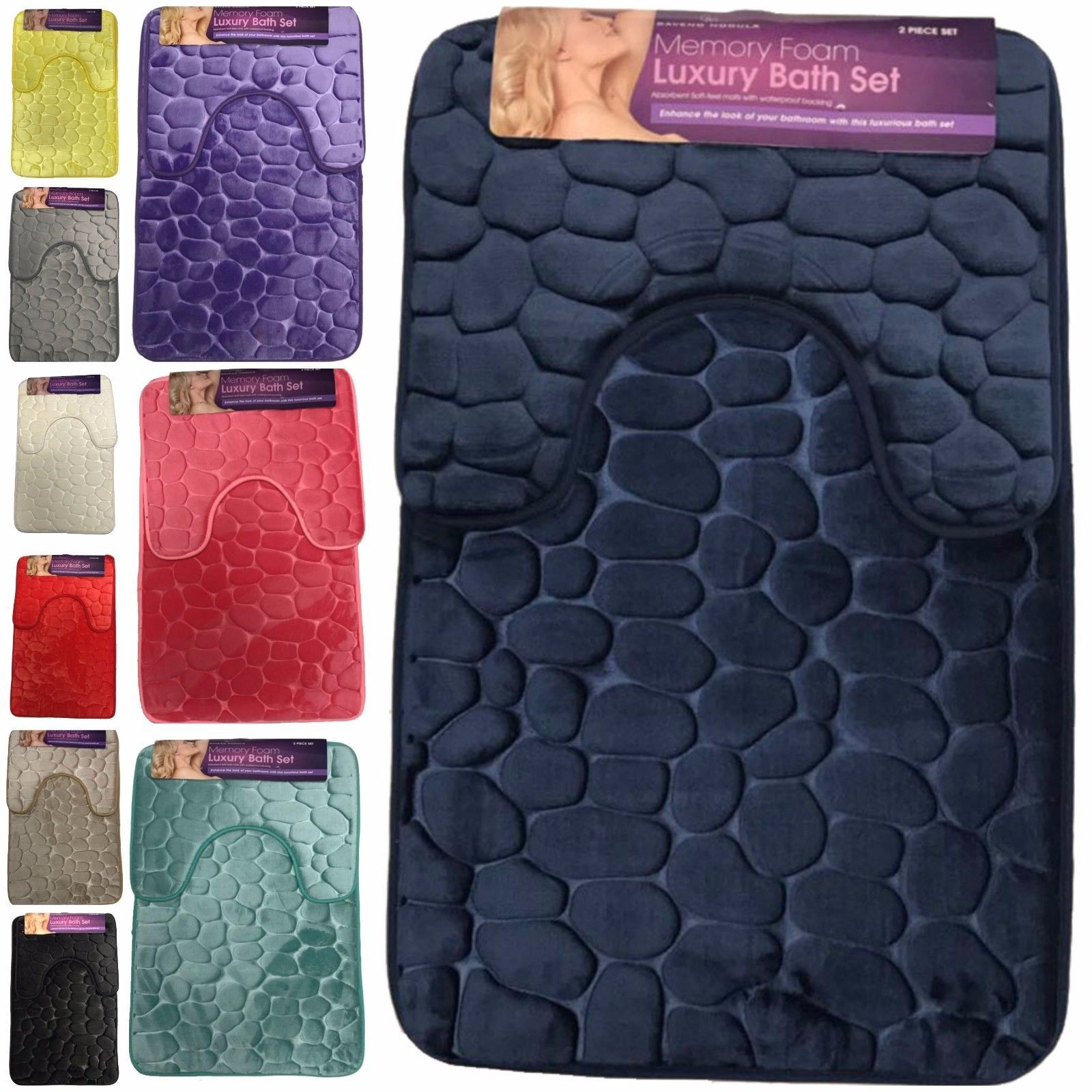 Bath mat set 2 piece non slip pedestal mat pebbles design