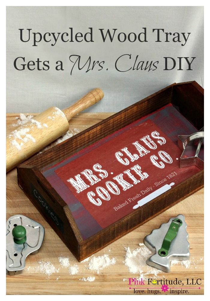 Upcycled Wood Tray Gets a Mrs. Claus DIY by coconutheadsurvivalguide.com