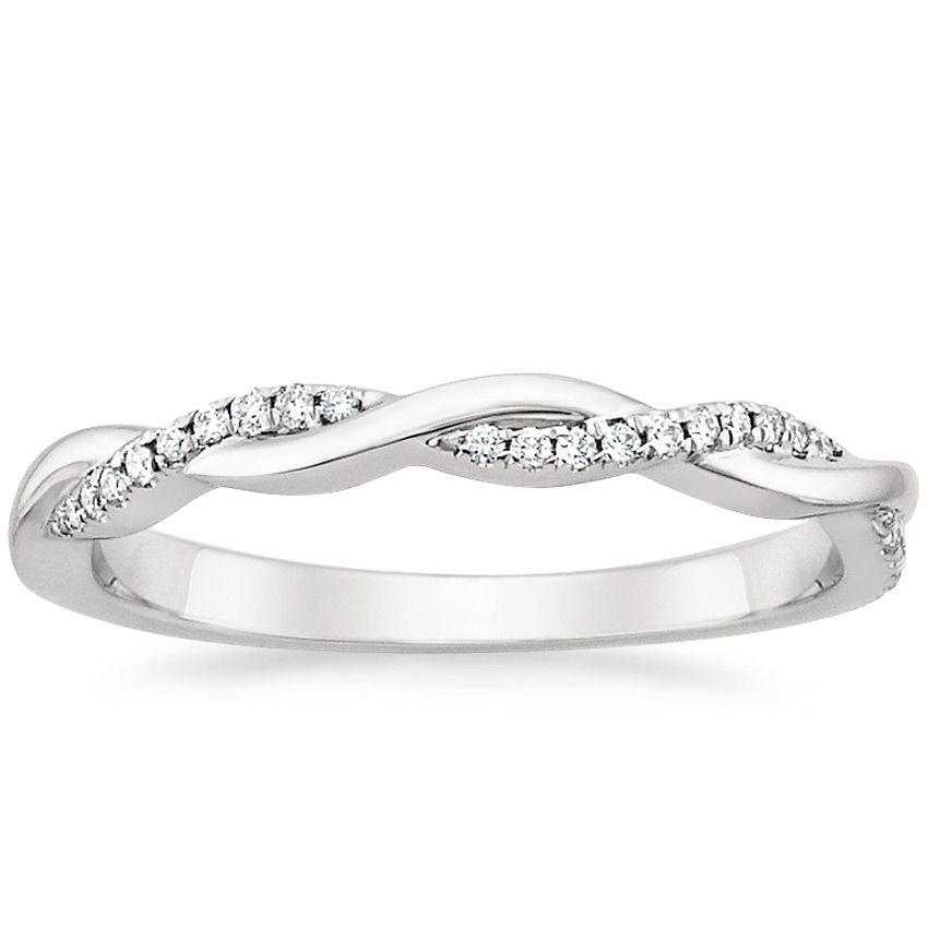 18K White Gold Petite Twisted Vine Diamond Ring (1