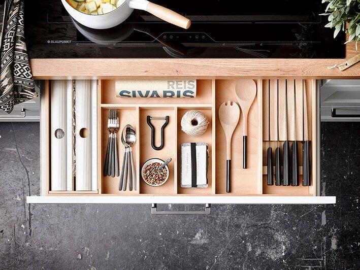 INNENORGANISATION in Buche hell - bringt Ordnung in Ihre Schublade - ordnung in der küche