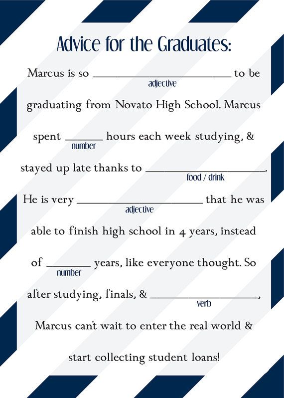 Graduation Mad Libs Ad Lib College High School by ...