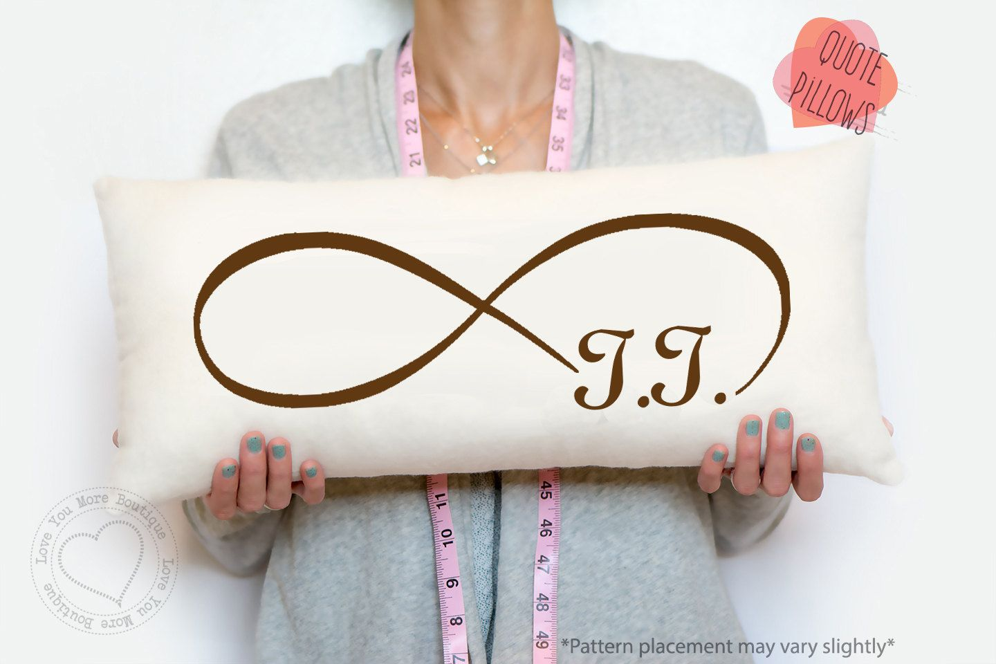 Infinity Love Pillow Cotton Anniversary Gift Personalized 12 Year Linen