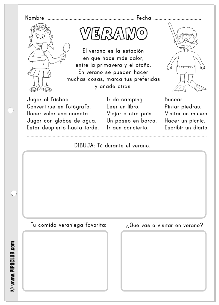 Verano: actividades para niños para leer y colorear. #verano ...