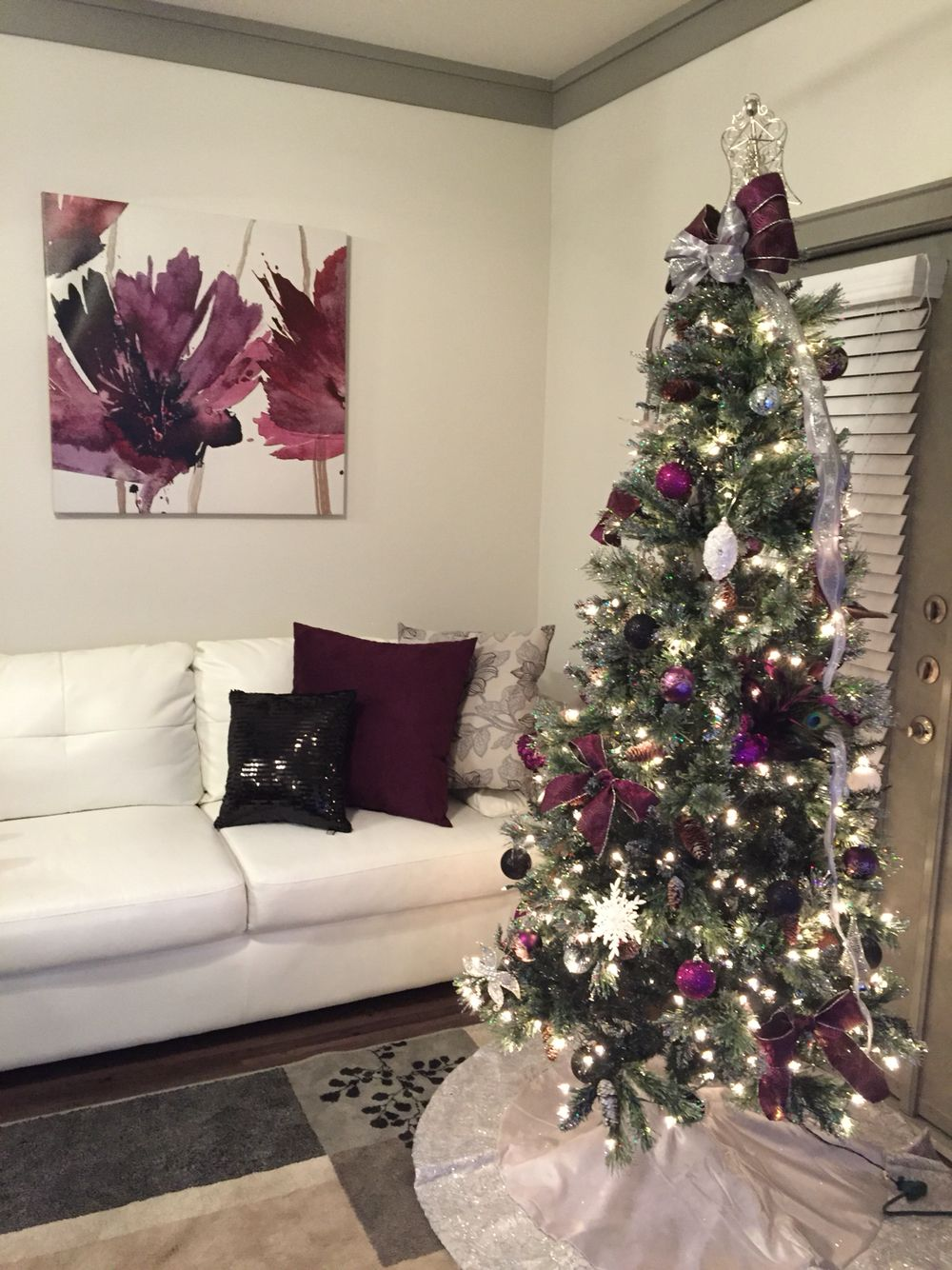 7ft artificial Christmas tree with glitter pine tips. At Home ...