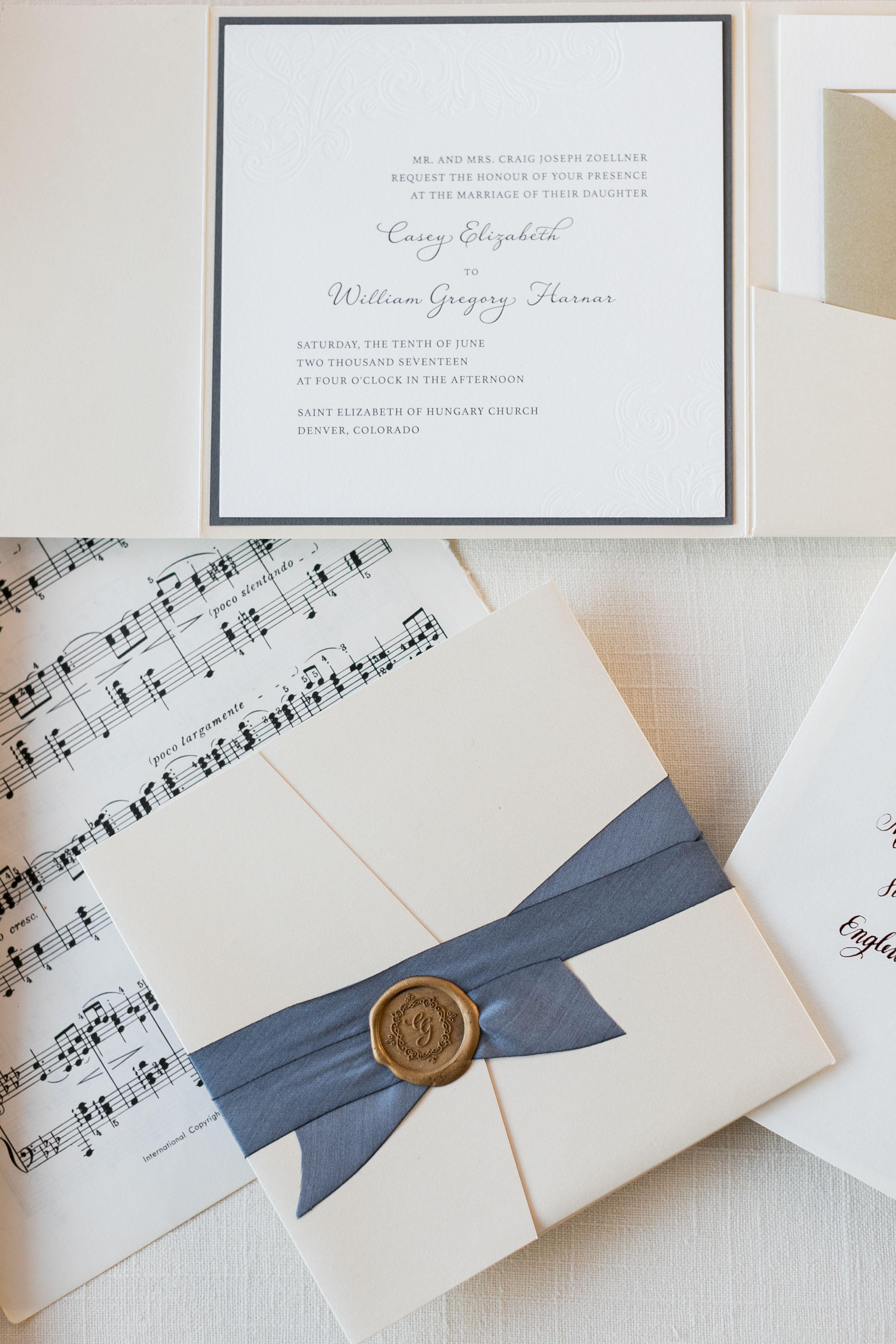 Pocket Wedding Invitation With Hand Dyed Silk Ribbon Gold