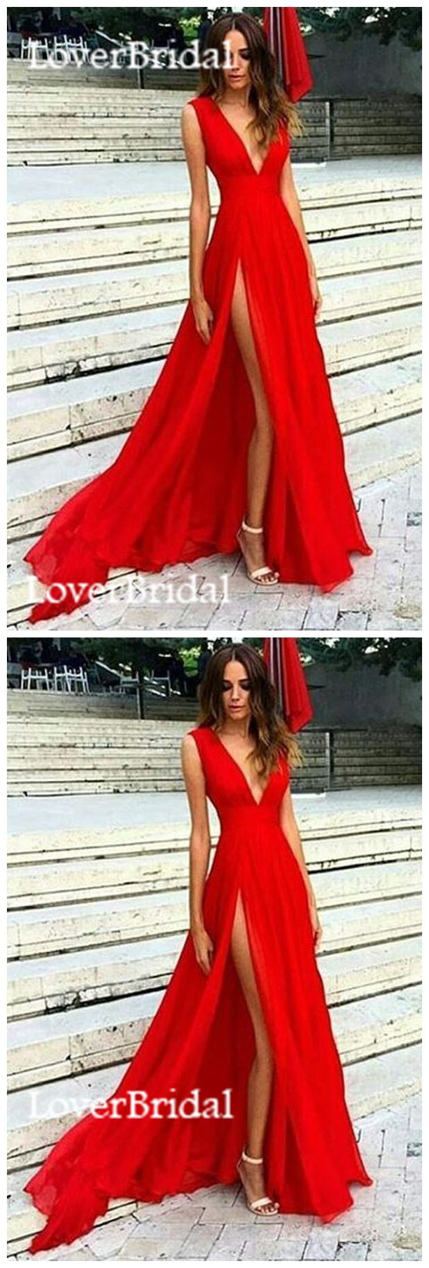 sexy side slit low v neck a line long evening prom dresses