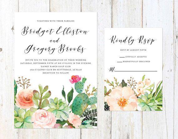 Wedding Invitations Az: Succulent Wedding Invitation, Desert Cactus Invitation