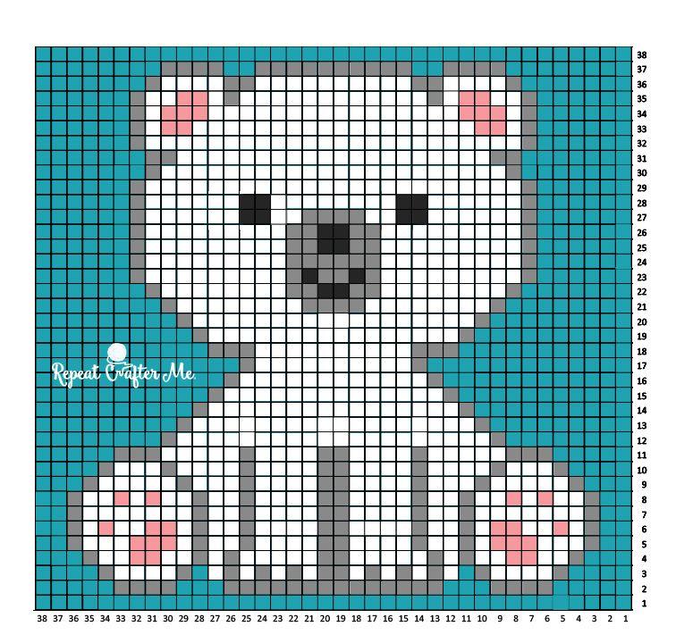 Polar Bear Cub Crochet C2C Blanket | Esquina, Cuadro y Patrones