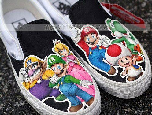 Custom Shoes Super Mario Shoes Slip-on