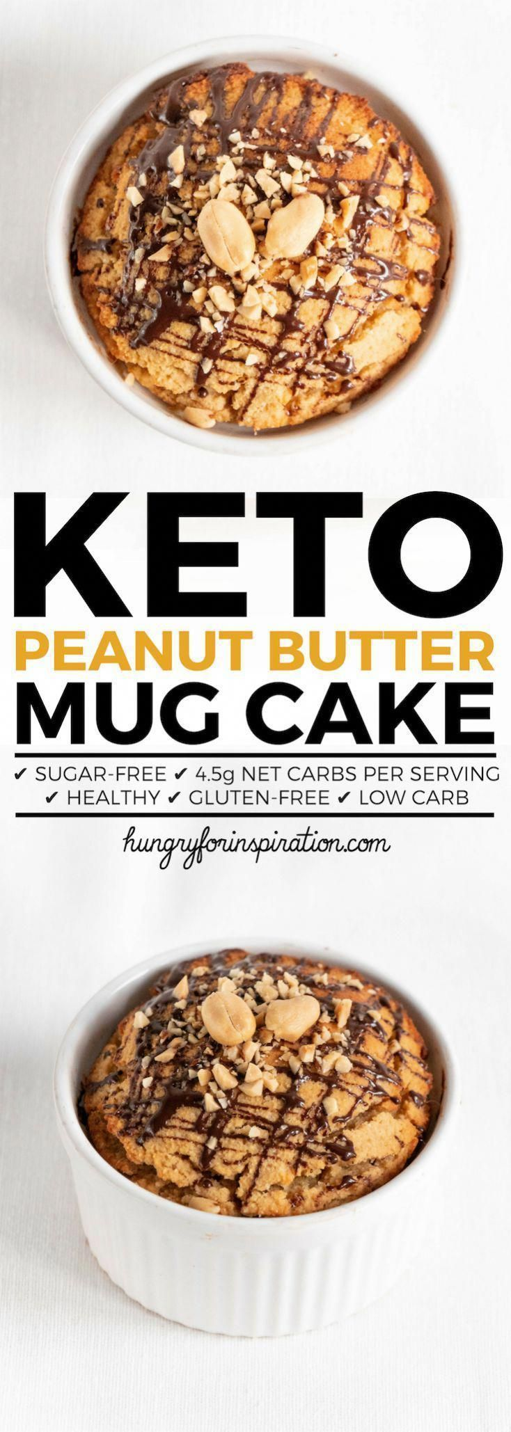 This Peanut Butter Keto Mug Cake is perfect for peanut butter lovers! Such an easy Keto Dessert or Keto Snack recipe with only 4.5g net carbs per serving! Ready in less than 10 minutes! #keto #ketodiet #ketorecipes #ketodessert #mugcake #ketogenic #ketogenicdiet #lowcarb #lowcarbrecipes #lowcarbdiet #lowcarbdessert #KetoChallenge #proteinmugcakes