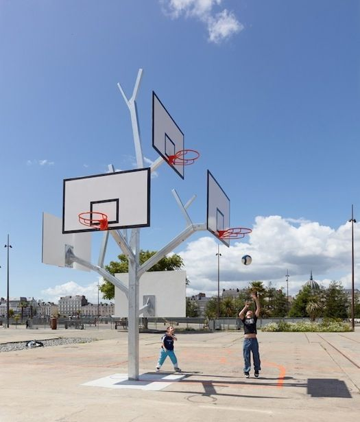 Tree Shaped Basketball Hoop Design Has Branches For Players Of All Ages Urban Playground Playground Design French Architecture