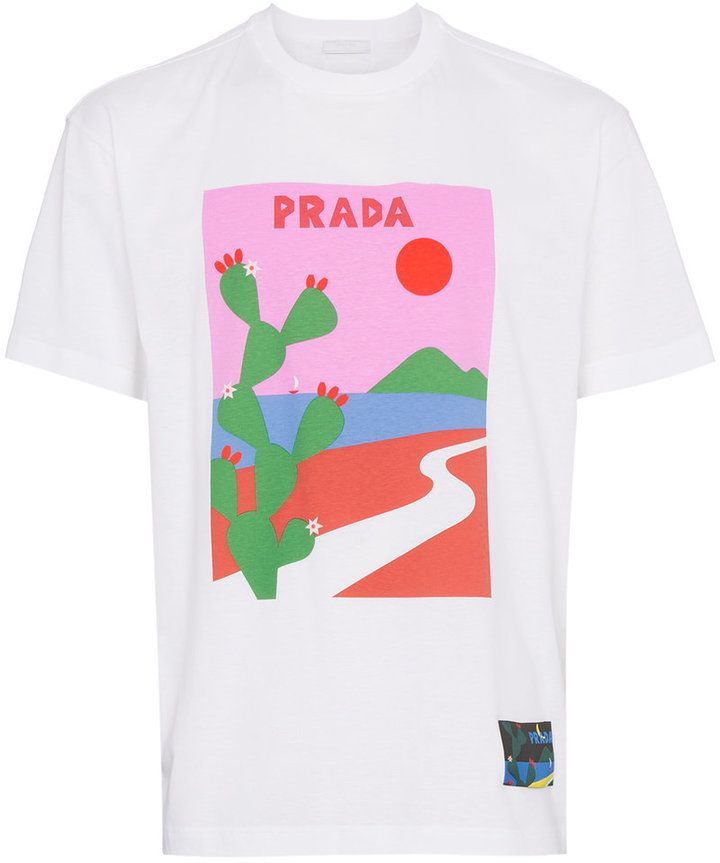 28057020 Prada cactus print T-shirt | Products | Mens cotton shorts, Mens ...
