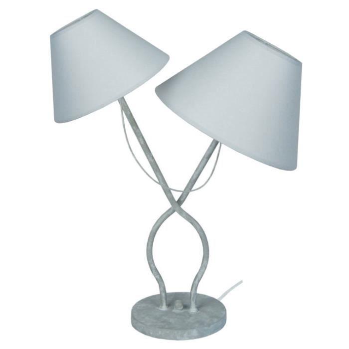 Provencale Lampe A Poser Acier 27x25x49 Cm Gris Et Blanc Avec Images Lampe A Poser
