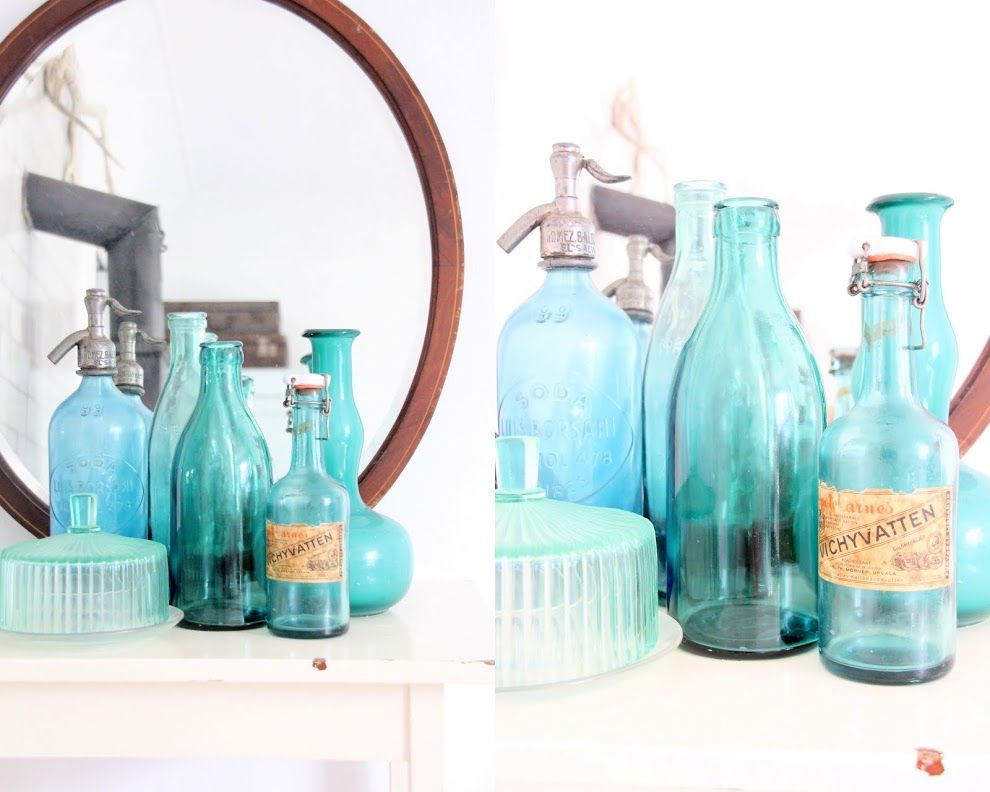 Vintage blue glass collection