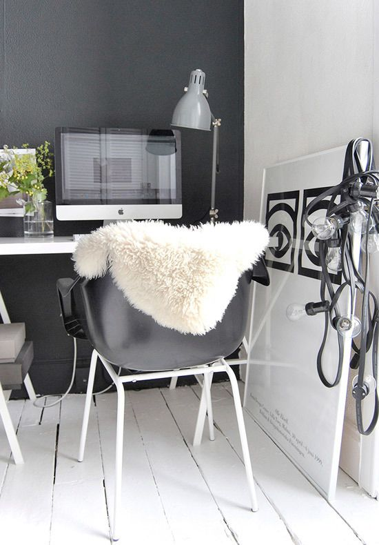 black + white home office