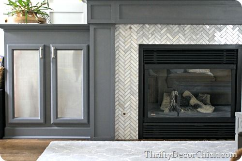 Herringbone and Tiled fireplace