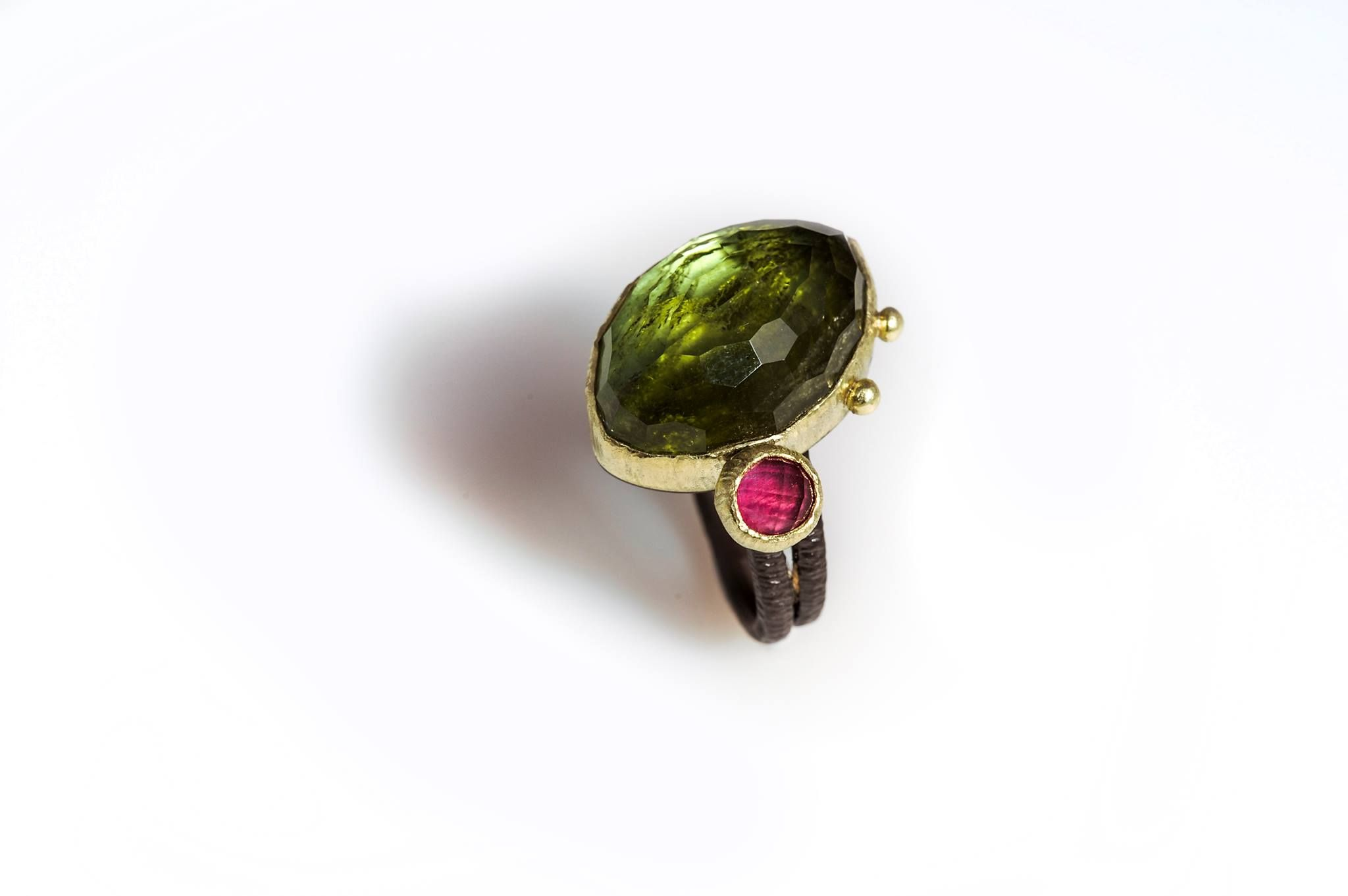 tourmaline rock crystal doublet with pink tourmaline