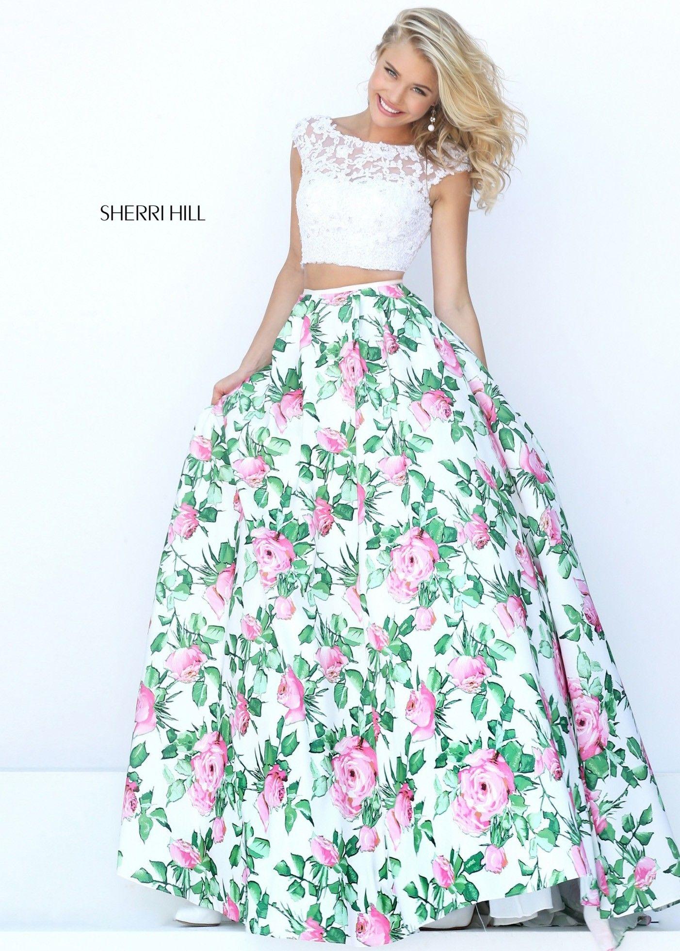 Sherri Hill 50492 Floral Print 2 Piece Ball Gown